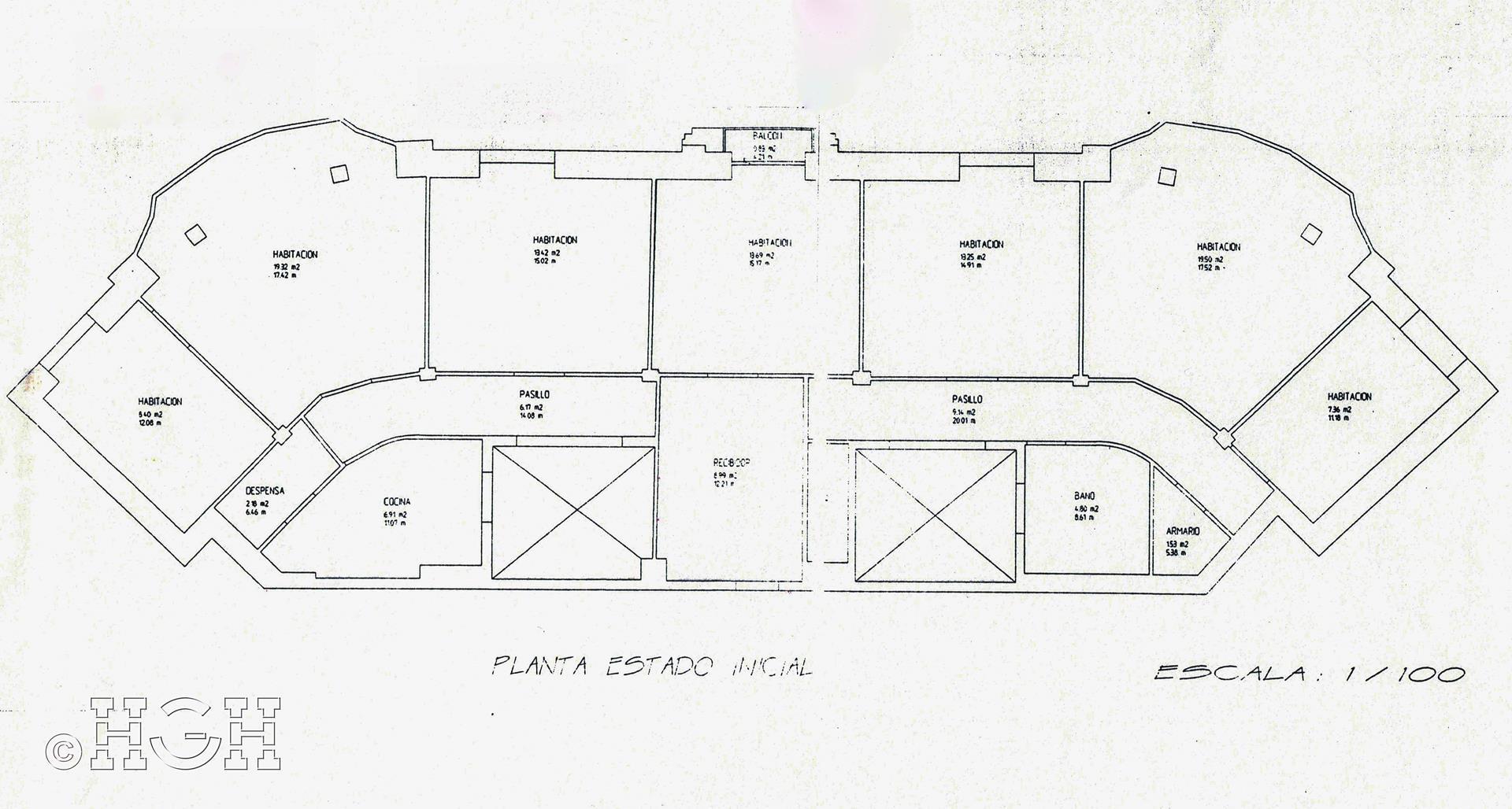 Plano de estado inicial de piso en barrio ensanche, ruzafa, Valencia. Proyecto realizado íntegramente por Global Home Happiness.