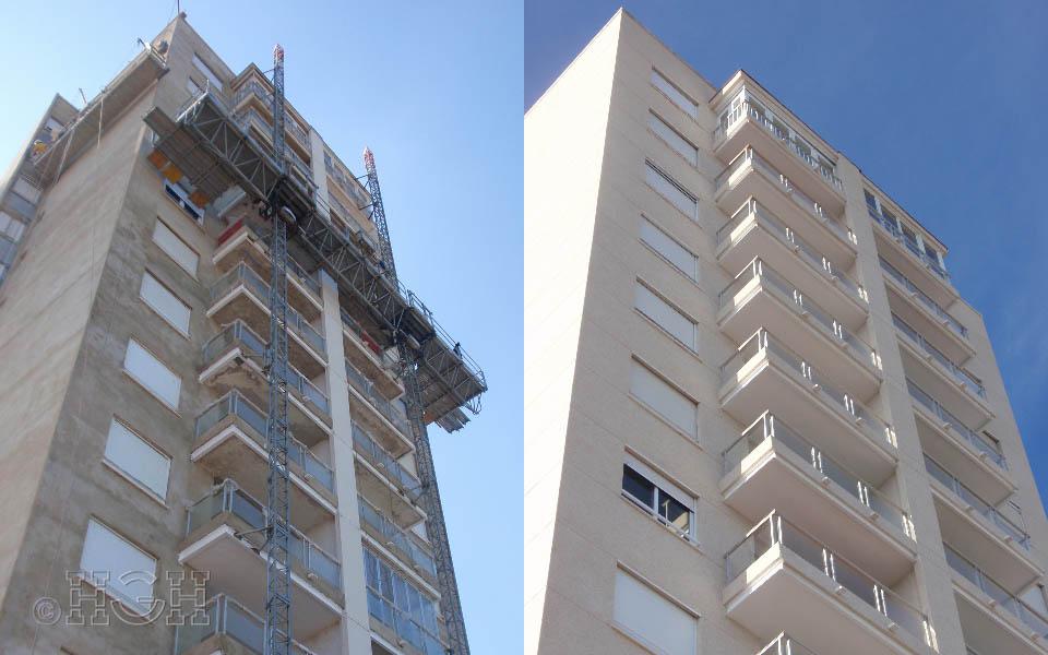 Antes y final del Proyecto básico y de ejecución del Edificio Torre del Castillo, en Jávea, Alicante. Proyecto, dirección de obra y rehabilitación de fachada realizada íntegramente por personal de Global Home Happiness.