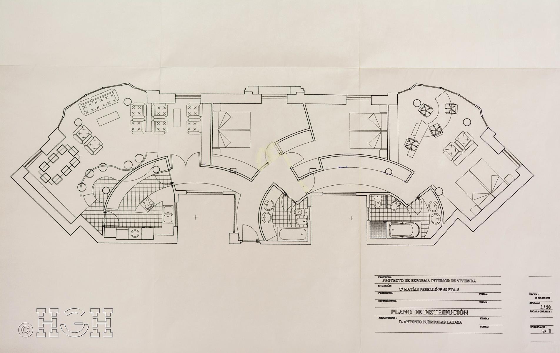 Plano de distribución final de piso en barrio ensanche, ruzafa, Valencia. Proyecto realizado íntegramente por Global Home Happiness.