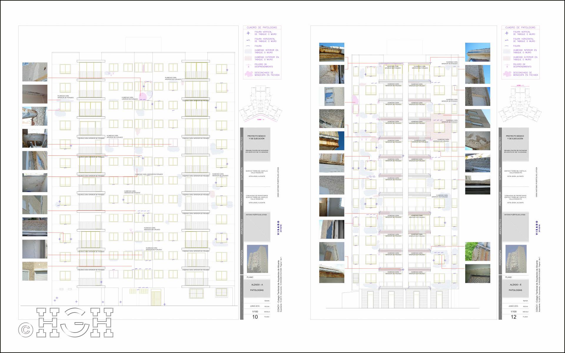 Planos del Proyecto básico y de ejecución del Edificio Torre del Castillo, en Jávea, Alicante. Proyecto, dirección de obra y rehabilitación de fachada realizada íntegramente por personal de Global Home Happiness.