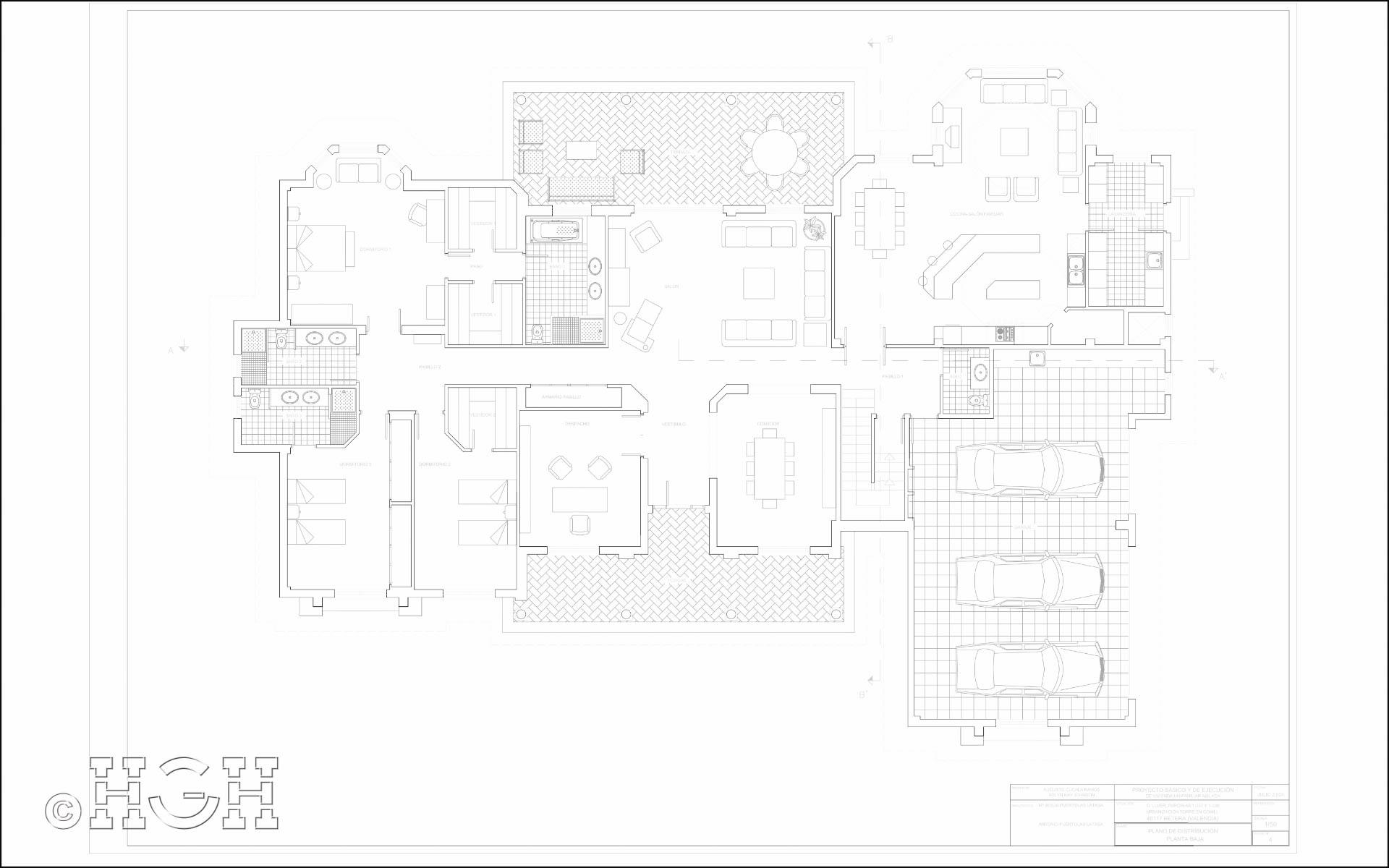 Plano de planta baja de vivienda unifamiliar aislada Urbanización Torre en Conill, Betera Valencia. Proyecto realizado por Global Home Happiness.