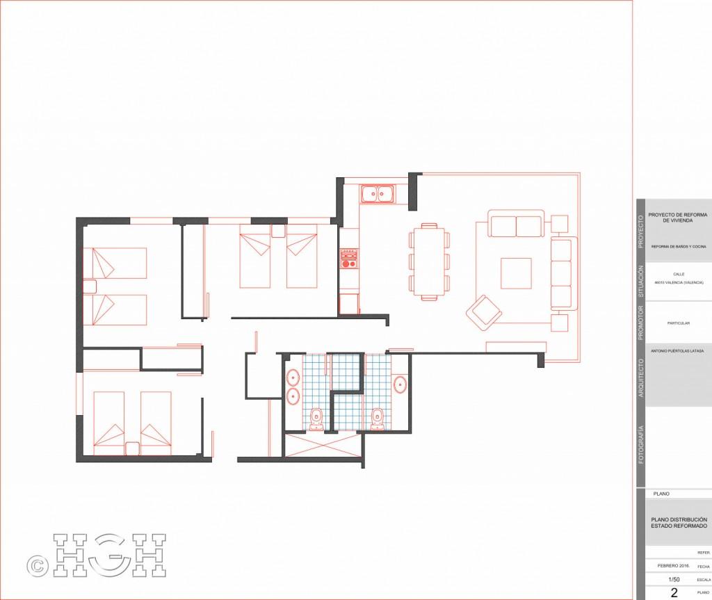 Plano distribución de estado reformado de la vivienda en Avenida Blasco Ibáñez, Zona Mestalla, Valencia. Reforma de Global Home Happiness.