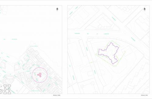 Plano de situación y emplazamiento del Proyecto básico y de ejecución del Edificio Torre del Castillo, en Jávea, Alicante. Proyecto, dirección de obra y rehabilitación de fachada realizada íntegramente por personal de Global Home Happiness.