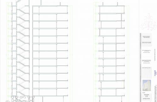 Plano secciones y estado actual del Proyecto básico y de ejecución del Edificio Torre del Castillo, en Jávea, Alicante. Proyecto, dirección de obra y rehabilitación de fachada realizada íntegramente por personal de Global Home Happiness.