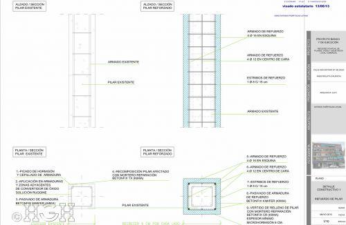 Planos detalle constructivo 1 de Proyecto básico y refuerzo de pilares, vigas y viguetas en local comercial en Mislata, Valencia. Proyecto, dirección de obra y rehabilitación realizada íntegramente por personal de Global Home Happiness.