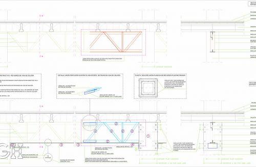 Planos detalle constructivo 2 de Proyecto básico y refuerzo de pilares, vigas y viguetas en local comercial en Mislata, Valencia. Proyecto, dirección de obra y rehabilitación realizada íntegramente por personal de Global Home Happiness.