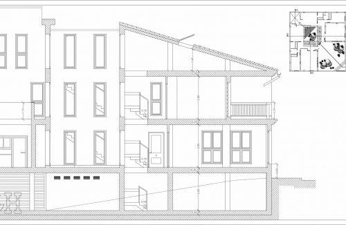 Sección A-A del proyecto básico y ejecución de viviendas unifamiliares adosadas en Loriguilla, valencia. Proyecto y dirección de obra realizada íntegramente por personal de Global Home Happiness.
