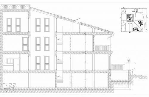 Sección B-B del proyecto básico y ejecución de viviendas unifamiliares adosadas en Loriguilla, valencia. Proyecto y dirección de obra realizada íntegramente por personal de Global Home Happiness.
